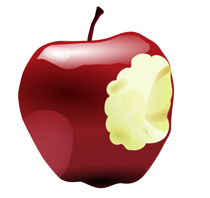 Illustration of a bitten red apple : Free Stock Photo