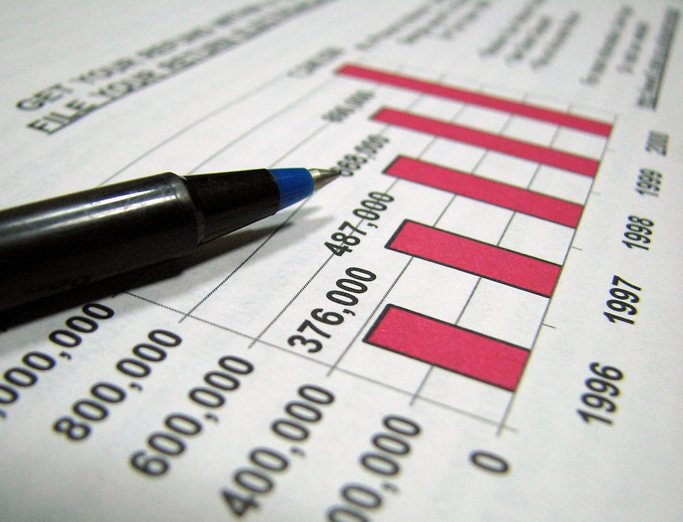 Closeup of tax graph and pen : Free Stock Photo