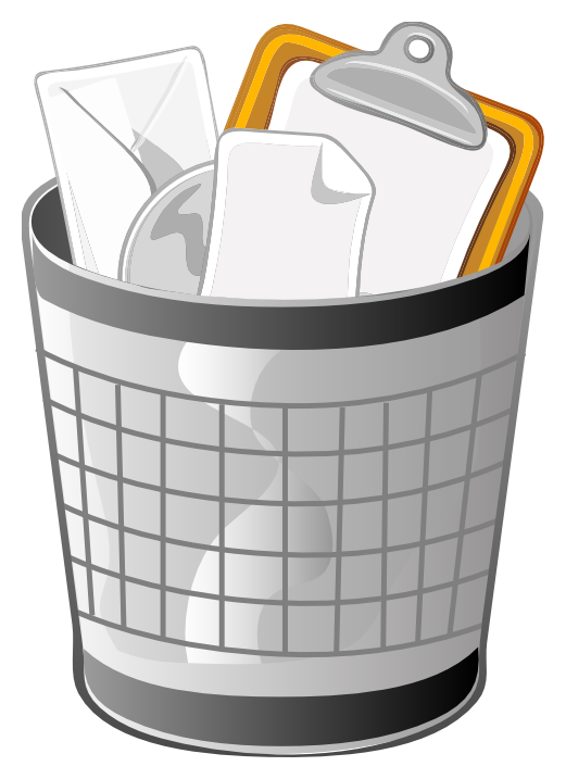 Illustration of a trash bin filled with office supplies : Free Stock Photo