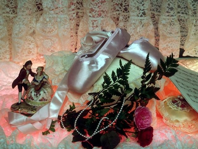 Pair of ballet slippers with a rose and lace : Free Stock Photo