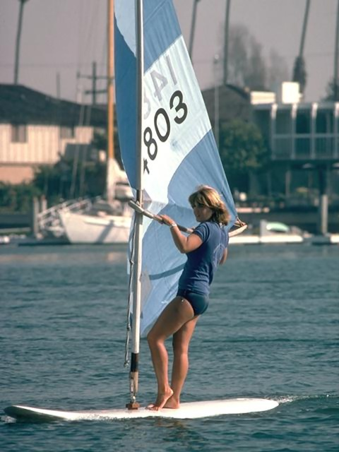 A girl windsurfing : Free Stock Photo