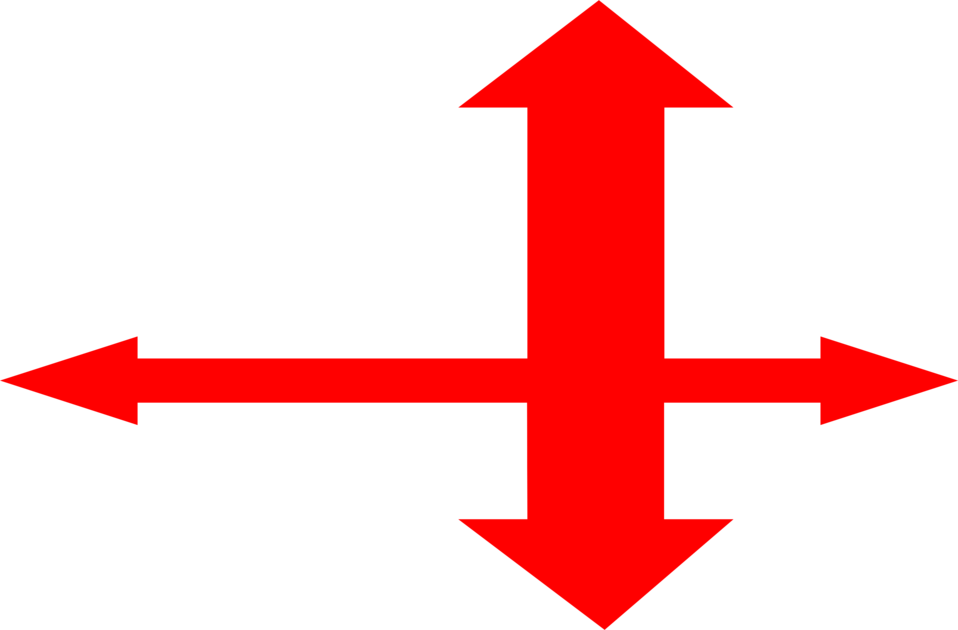 Illustration of a red four-way arrow : Free Stock Photo
