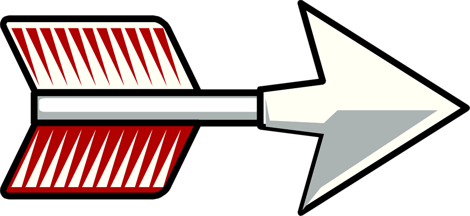 Illustration of a red feathered arrow : Free Stock Photo