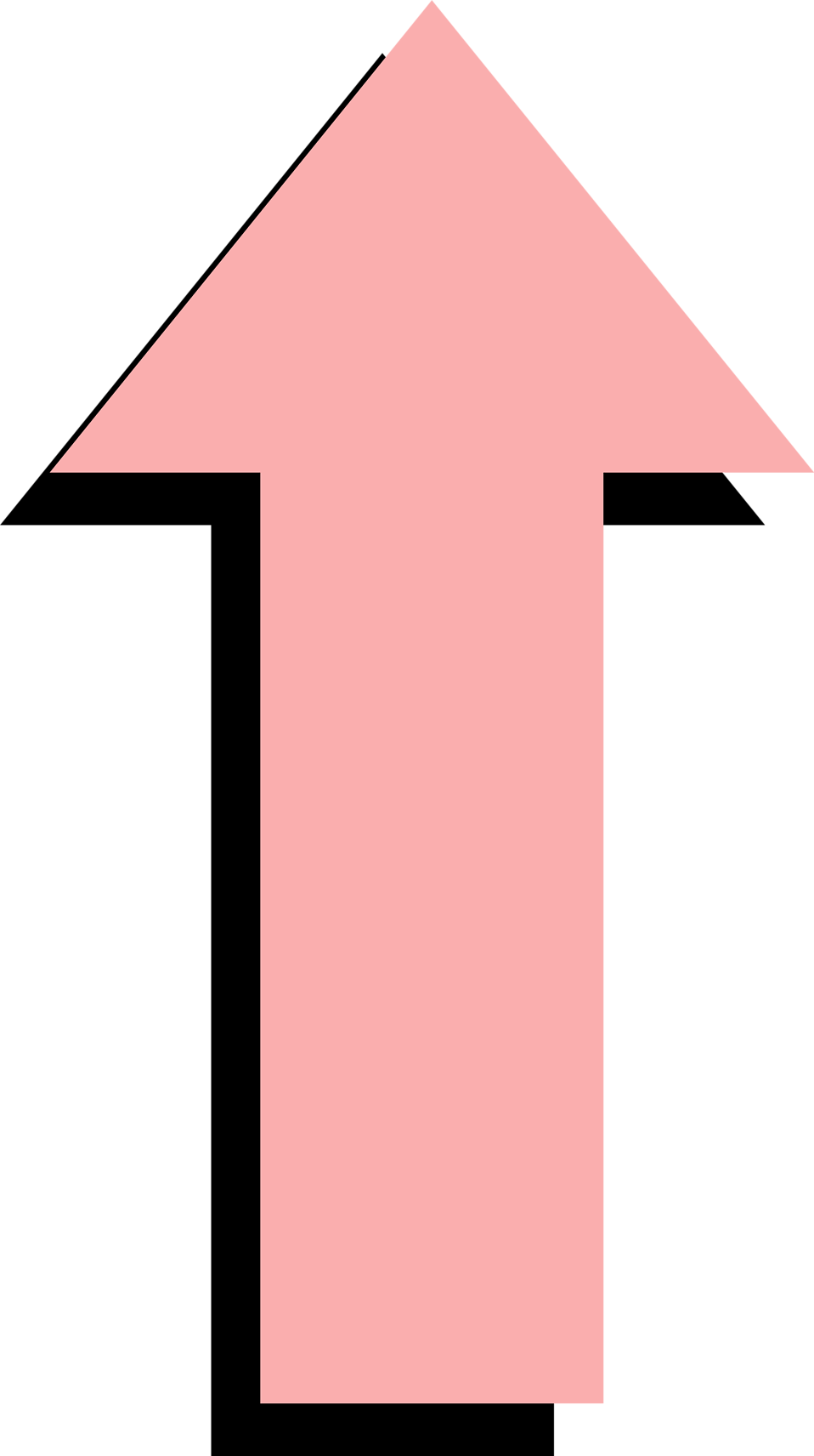 Illustration of a pink up arrow with a shadow : Free Stock Photo