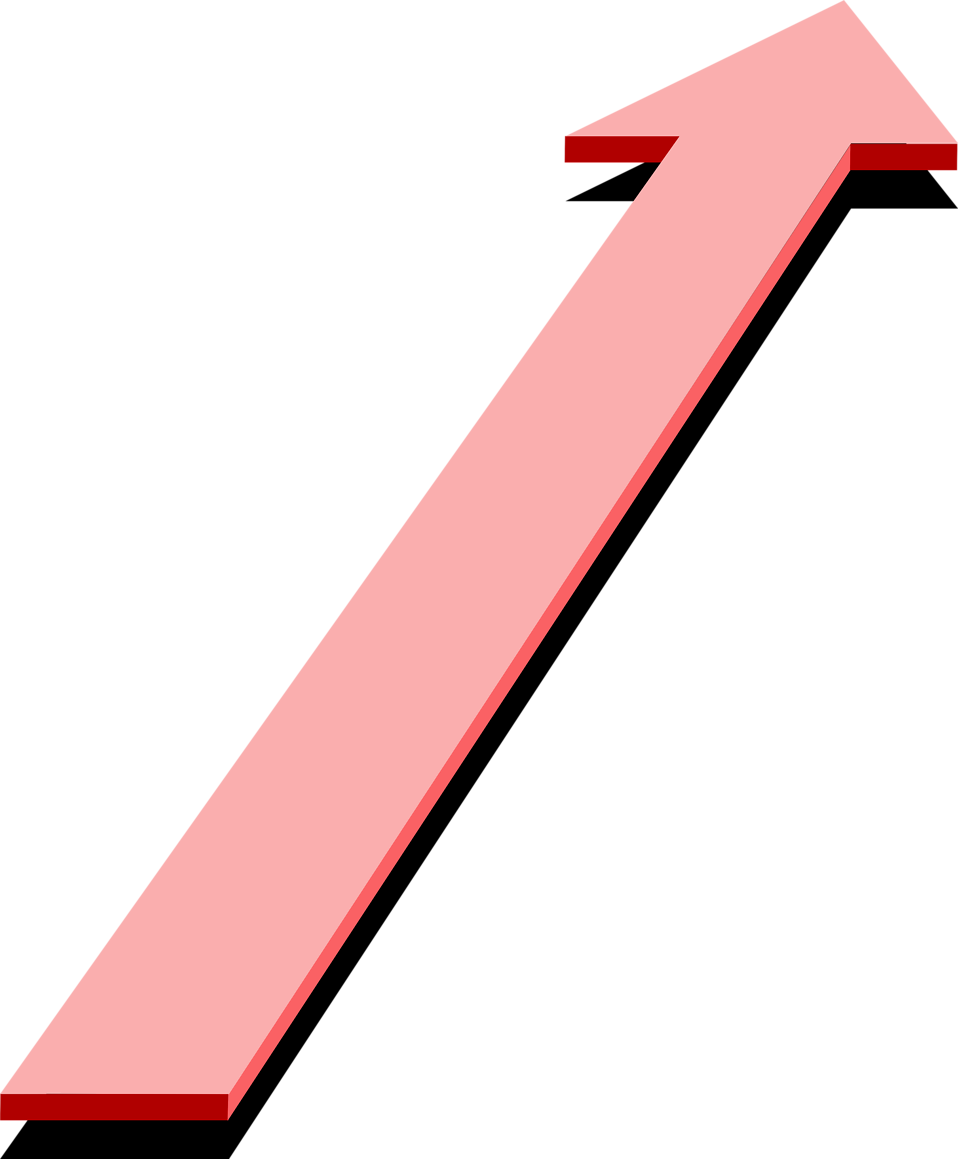 Illustration of a 3d pink up arrow : Free Stock Photo