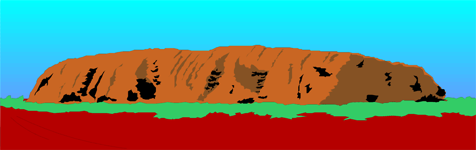 Illustration of Uluru (Ayres Rock) in Austratlia.