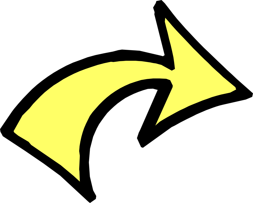 Illustration of a curved right yellow arrow : Free Stock Photo