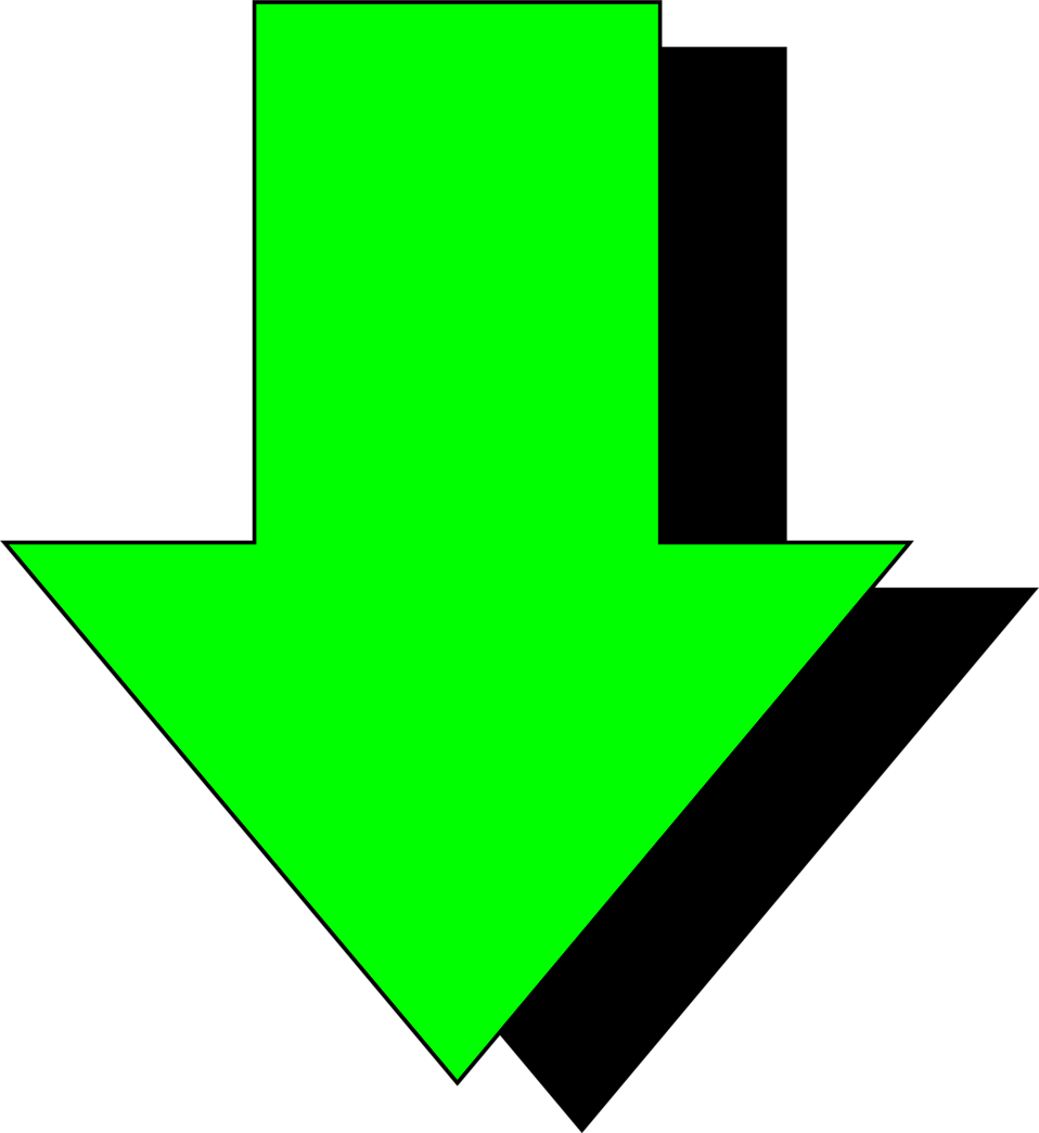 Illustration of a bright green down arrow with a shadow.