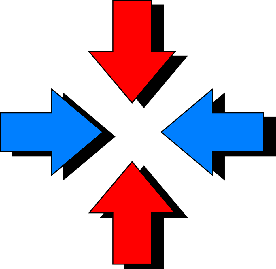 Illustration of red and blue arrows : Free Stock Photo