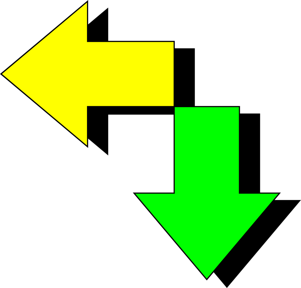 Illustration of green and yellow arrows : Free Stock Photo