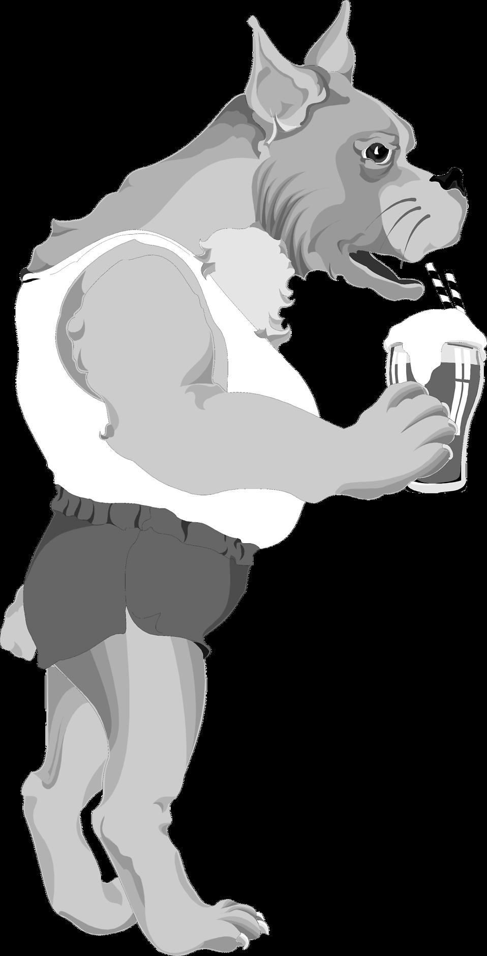 Clip Art Dog Food. Illustration of a dog drinking