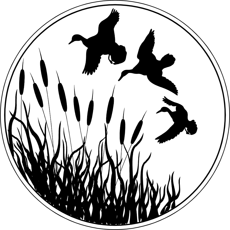 Illustrated silhouette of ducks flying over cat tails.
