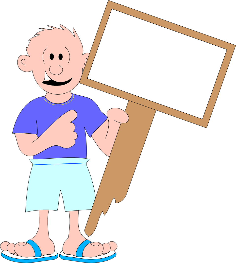 Illustration of a man holding a blank sign : Free Stock Photo