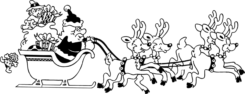 Illustration of Santa and his reindeers : Free Stock Photo