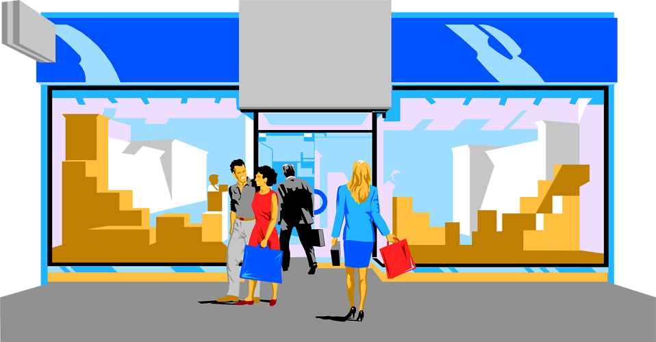 Illustration of people in front of a store : Free Stock Photo