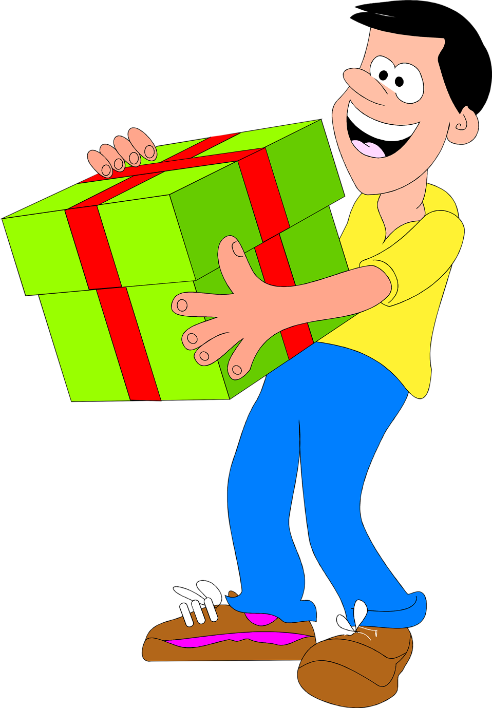 Illustrated man with big green present : Free Stock Photo