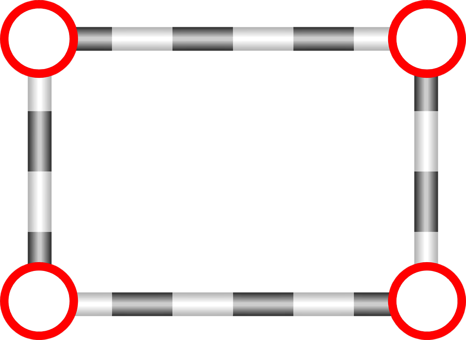 Illustration of a blank frame with red circle corners : Free Stock Photo