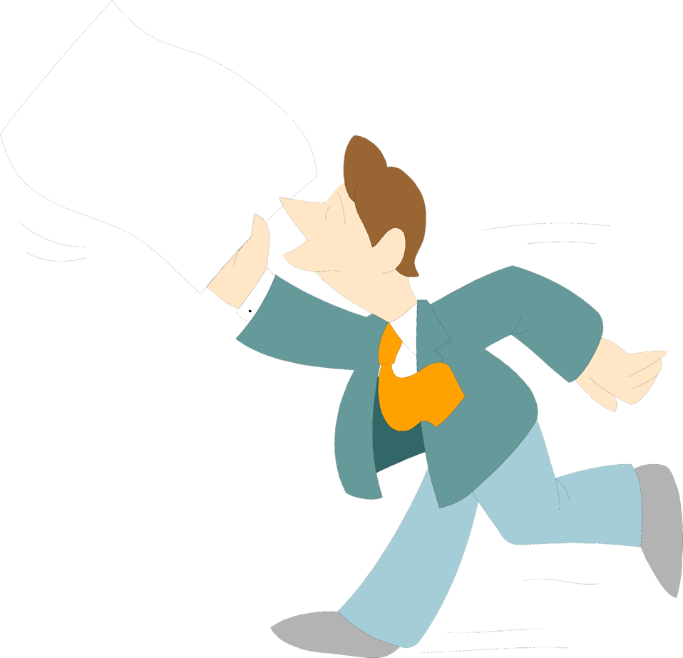 Illustration of a man running with a blank paper : Free Stock Photo