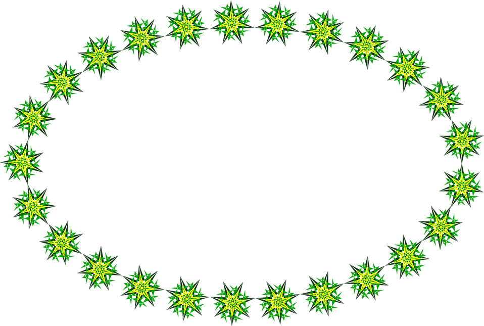 Illustration of a ring of green and yellow stars : Free Stock Photo