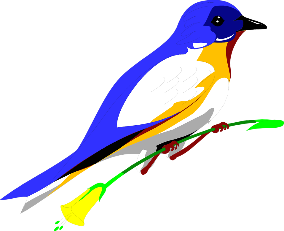Free stock photo illustration of a blue bird perched on a yellow