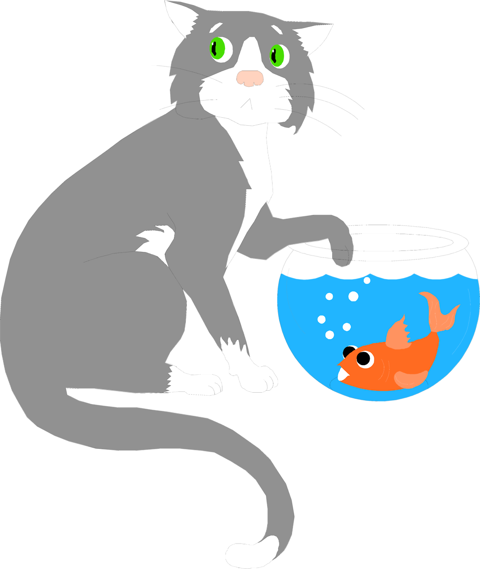 Illustration of a cat sneaking a paw into a fish bowl : Free Stock Photo