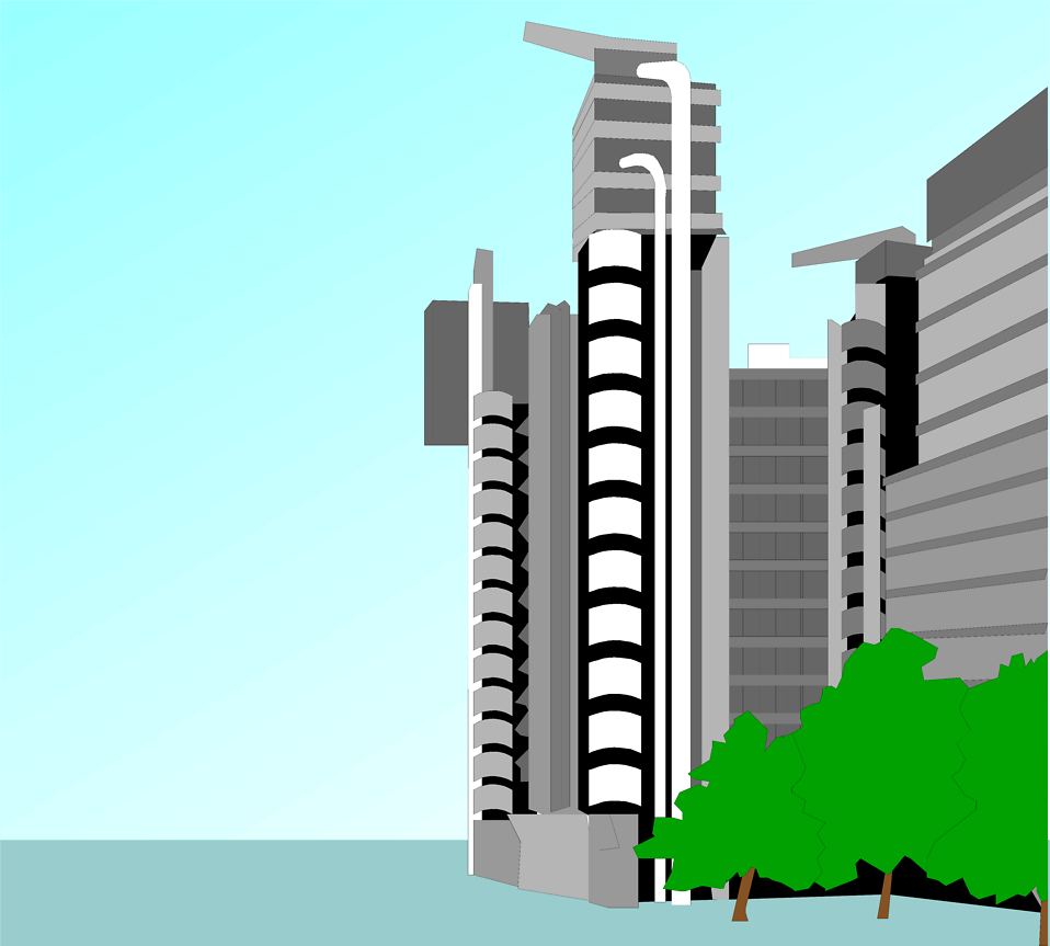 Illustration of a modern office building : Free Stock Photo
