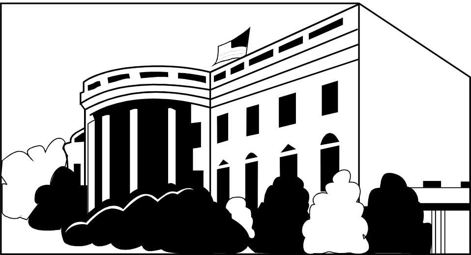 Illustration of the White House in Washington DC : Free Stock Photo
