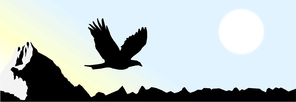 Illustrated silhouette of an eagle flying over mountains : Free Stock Photo