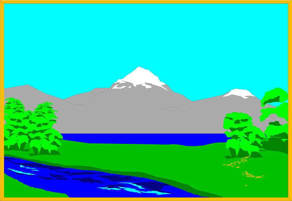 Illustration of a lake and mountain landscape : Free Stock Photo