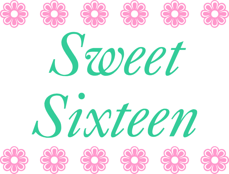 Illustration of a sweet sixteen birthday sign with pink flowers : Free Stock Photo