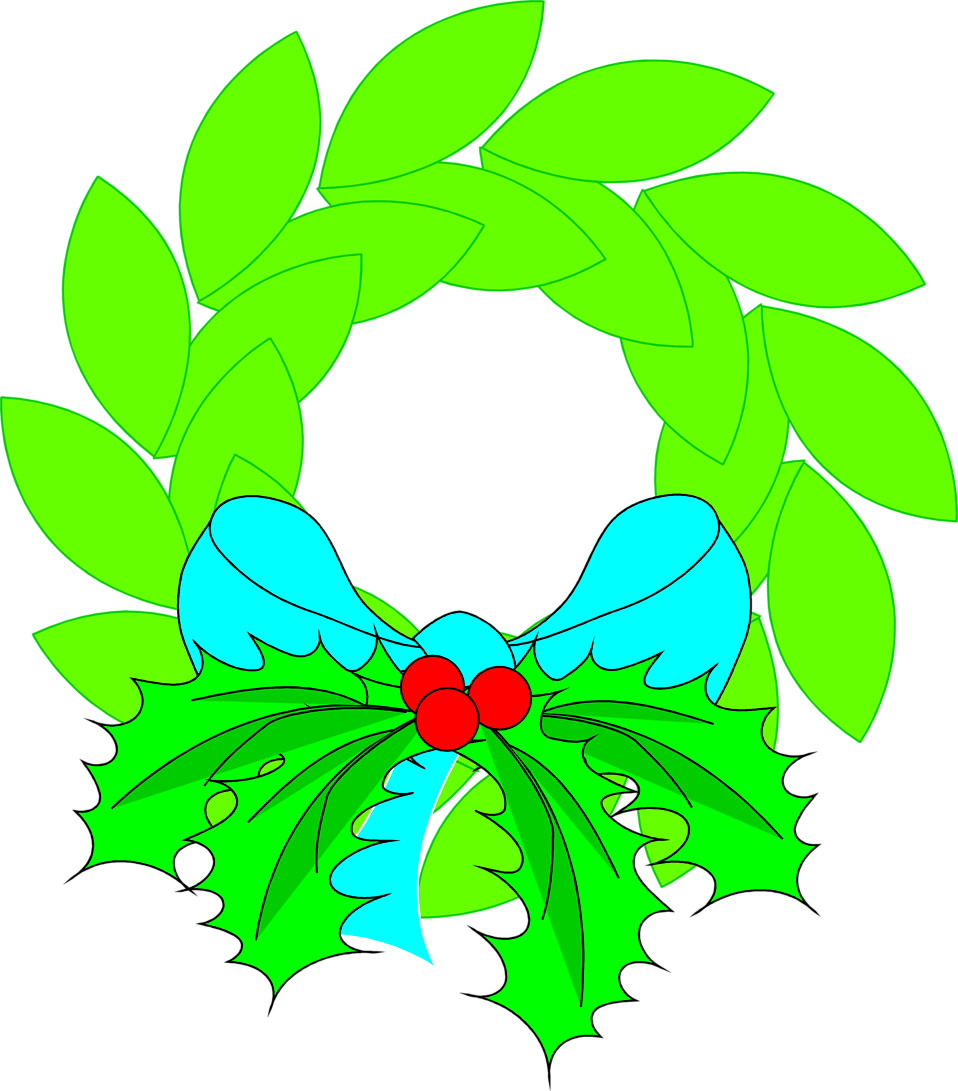 Illustration of a wreath with a blue bow.