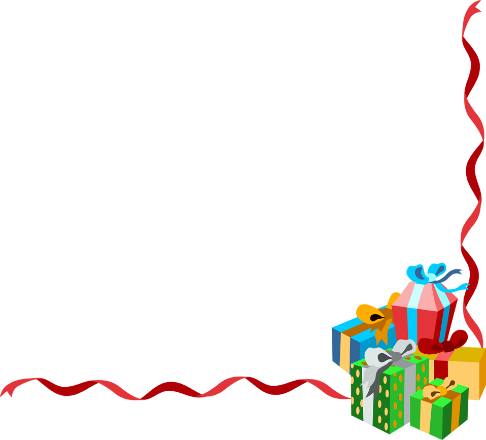 Illustration of a lower right frame corner with presents : Free Stock Photo