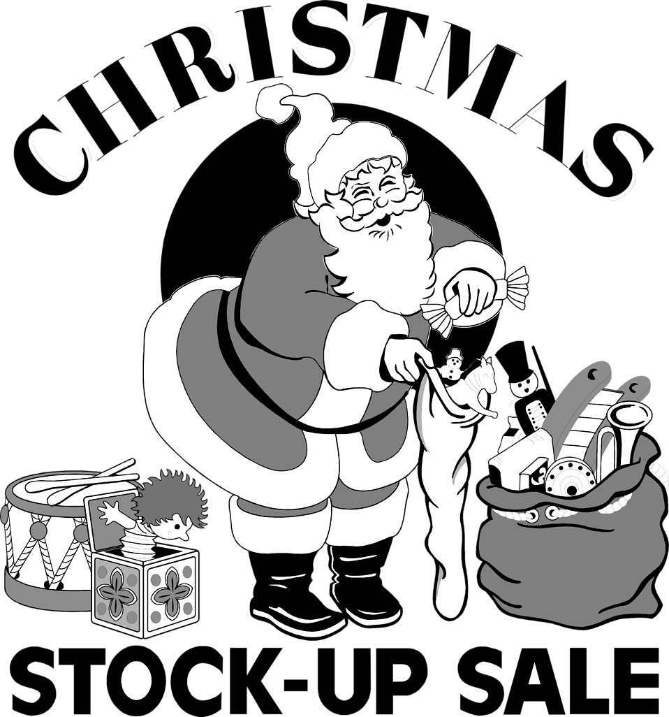 Illustration of Santa Claus with presents and advertising sales text : Free Stock Photo