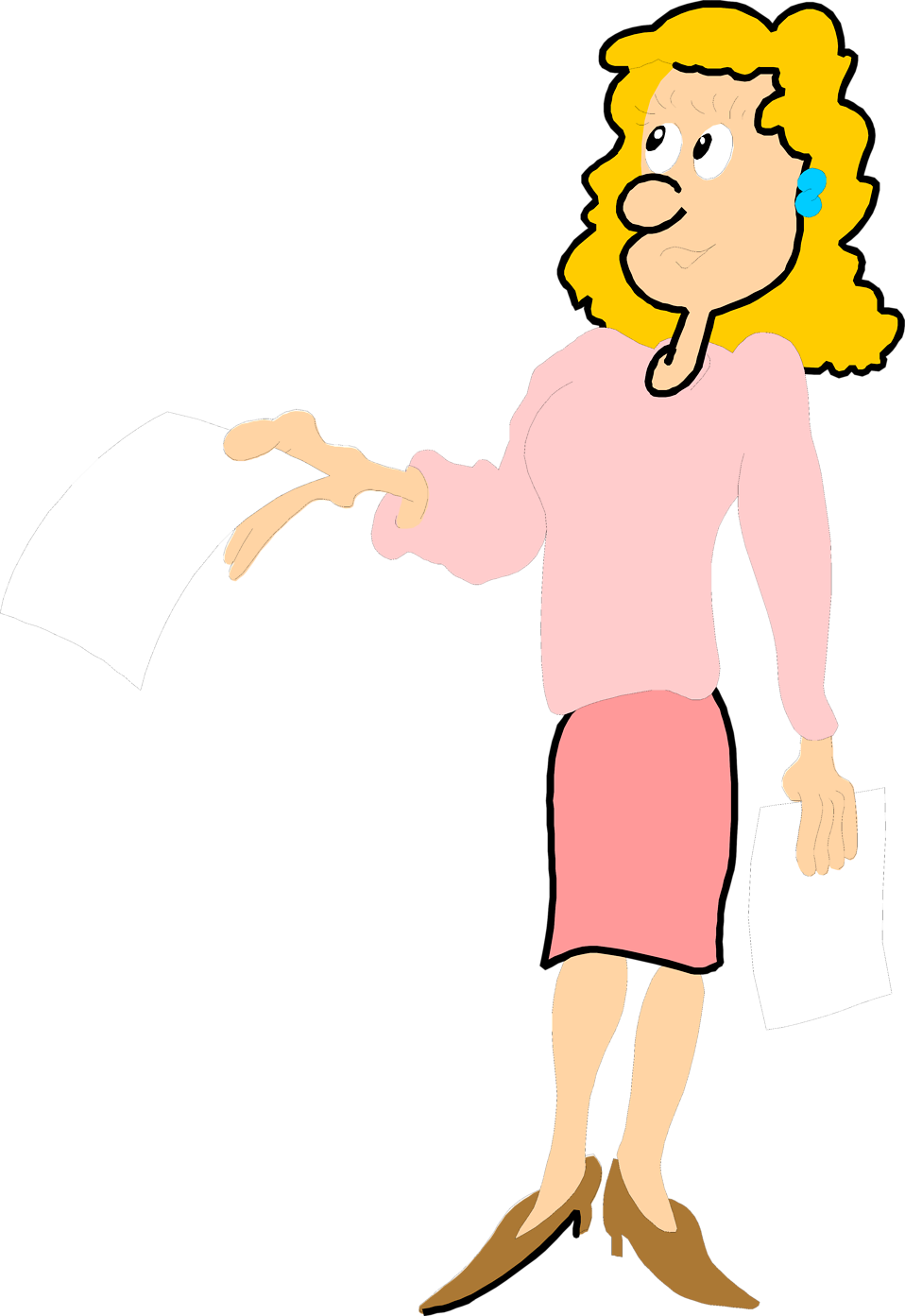 Illustration of a business woman holding a blank paper : Free Stock Photo