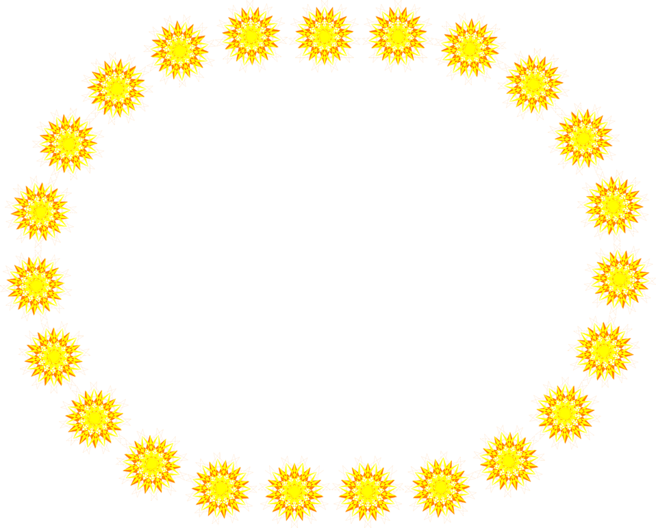 Illustration of a blank oval frame of yellow sun shapes : Free Stock Photo