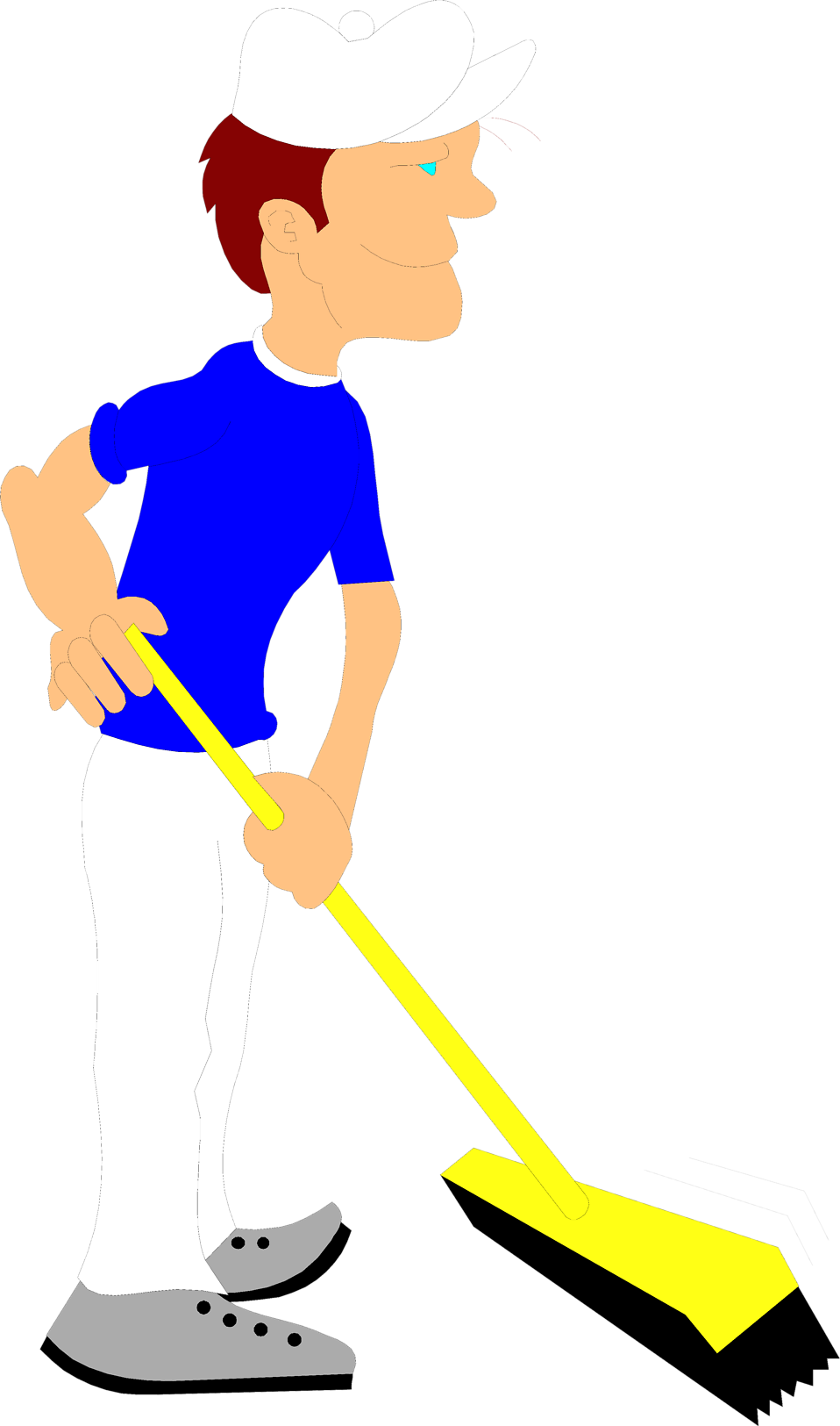 Illustration of a janitor pushing a broom : Free Stock Photo