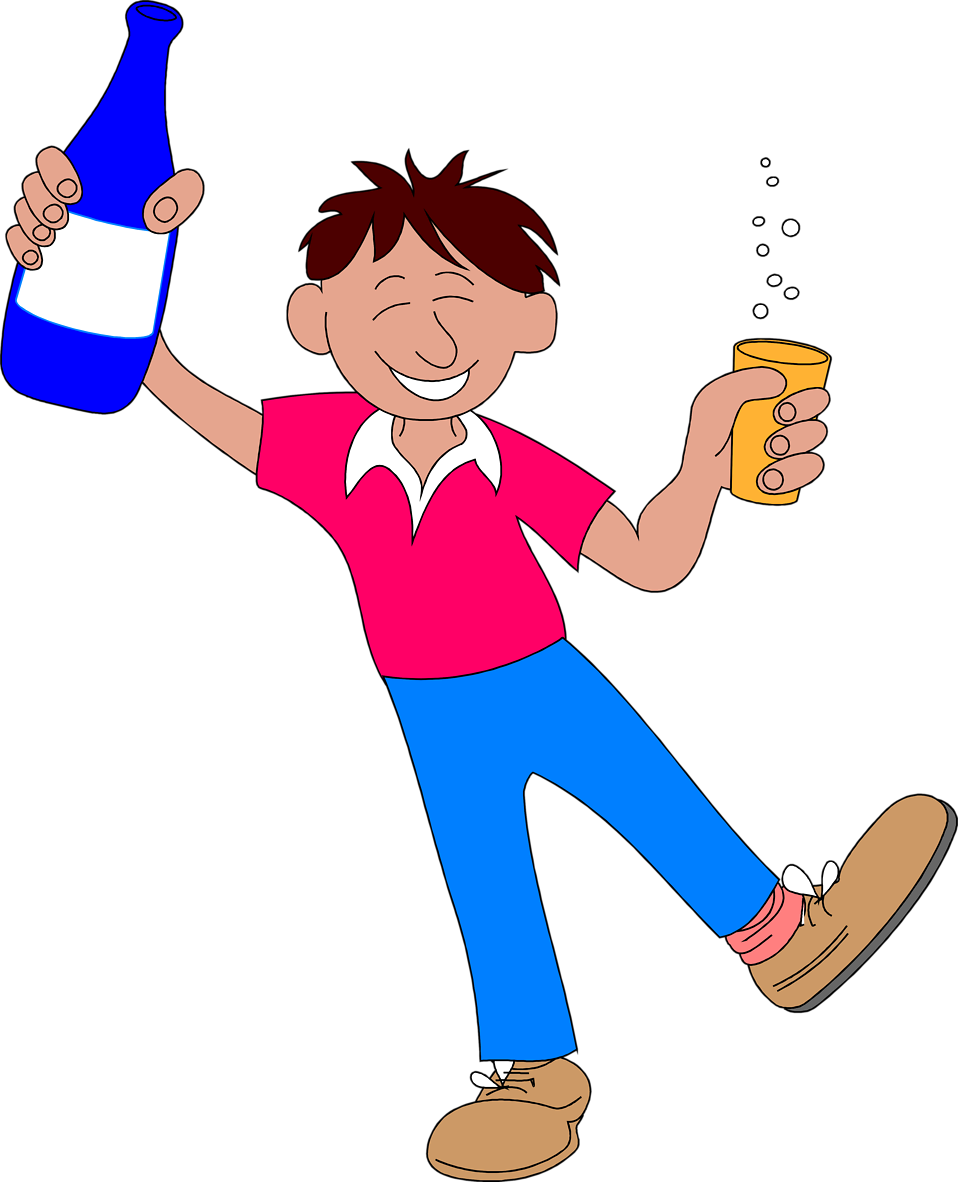 Illustration of a man celebrating with a drink : Free Stock Photo