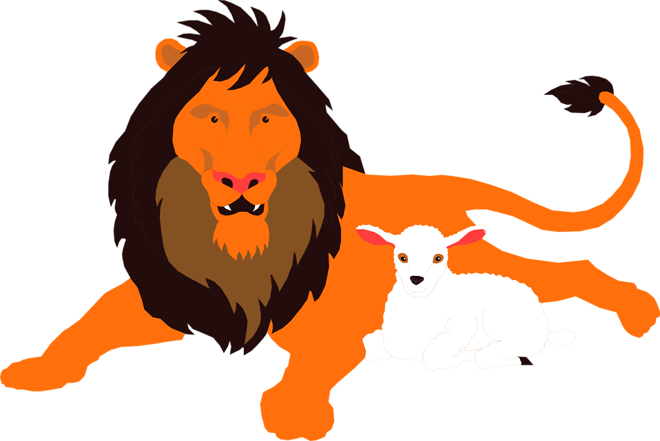 Illustration of a lion and a lamb : Free Stock Photo