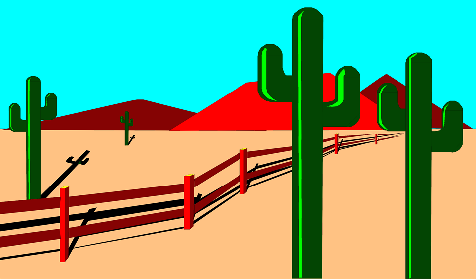 Illustration of a desert landscape with cacti : Free Stock Photo