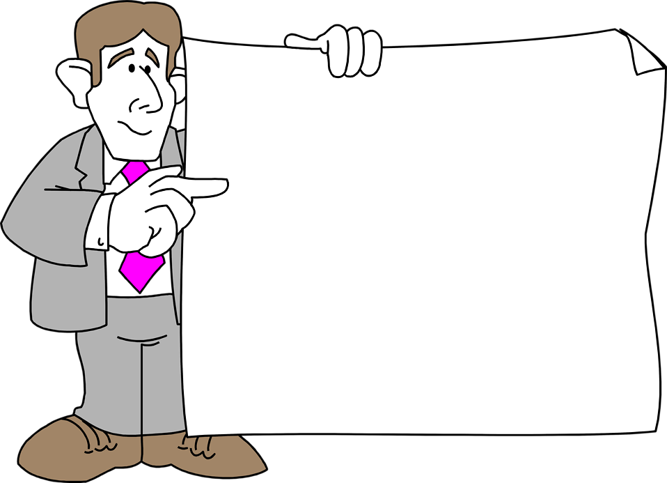 Illustration of a business man holding a blank sign : Free Stock Photo