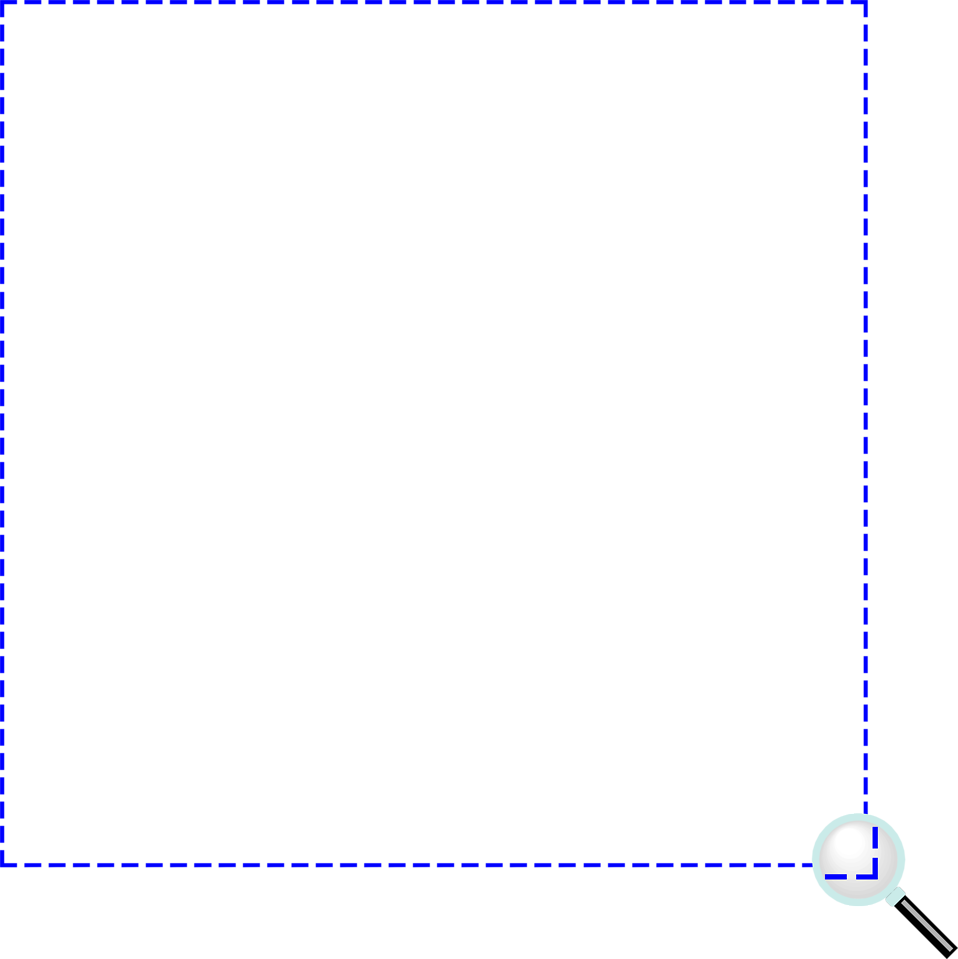 Illustration of a blank frame border with a magnifying glass : Free Stock Photo