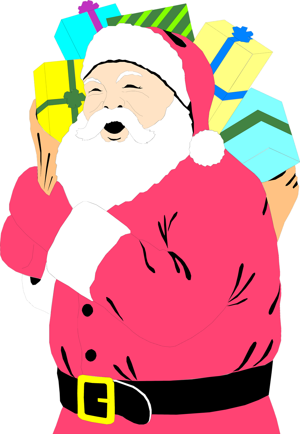 Illustration of Santa Claus carrying a sack of presents : Free Stock Photo