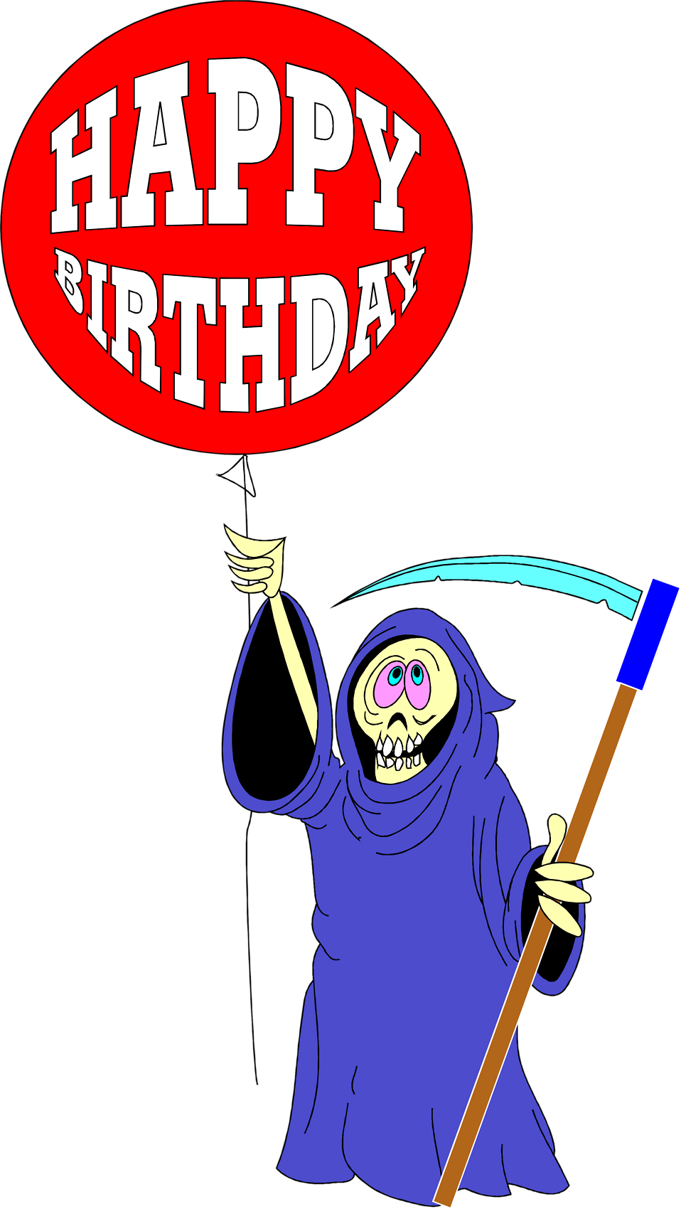 Illustration of the grim reaper with a birthday balloon : Free Stock Photo