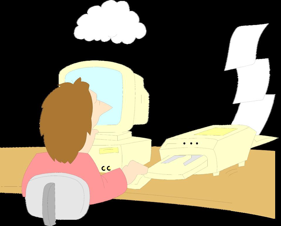 Illustration of a man sitting at a computer malfunctioning : Free Stock Photo