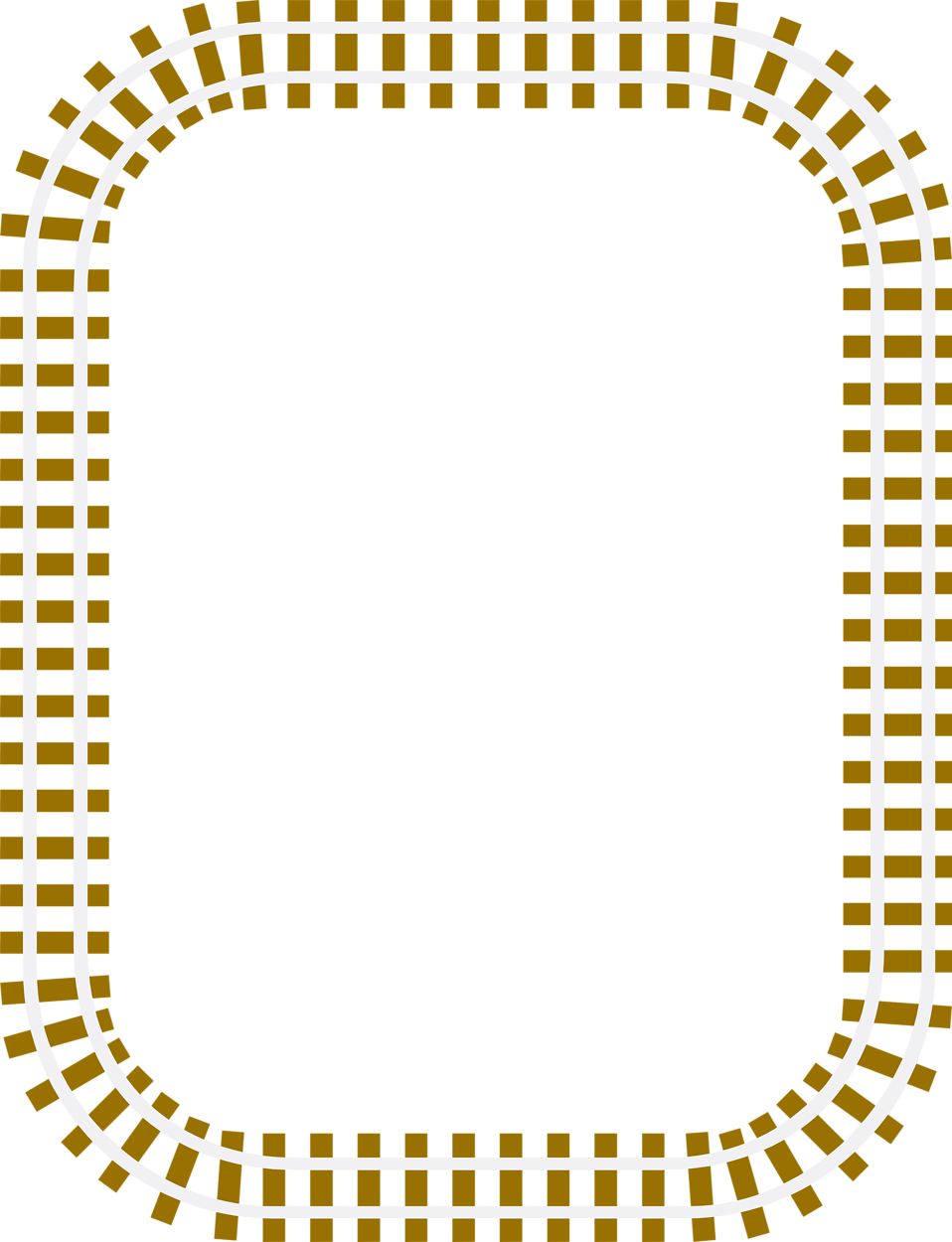 Illustration of a blank railroad track fraem border.