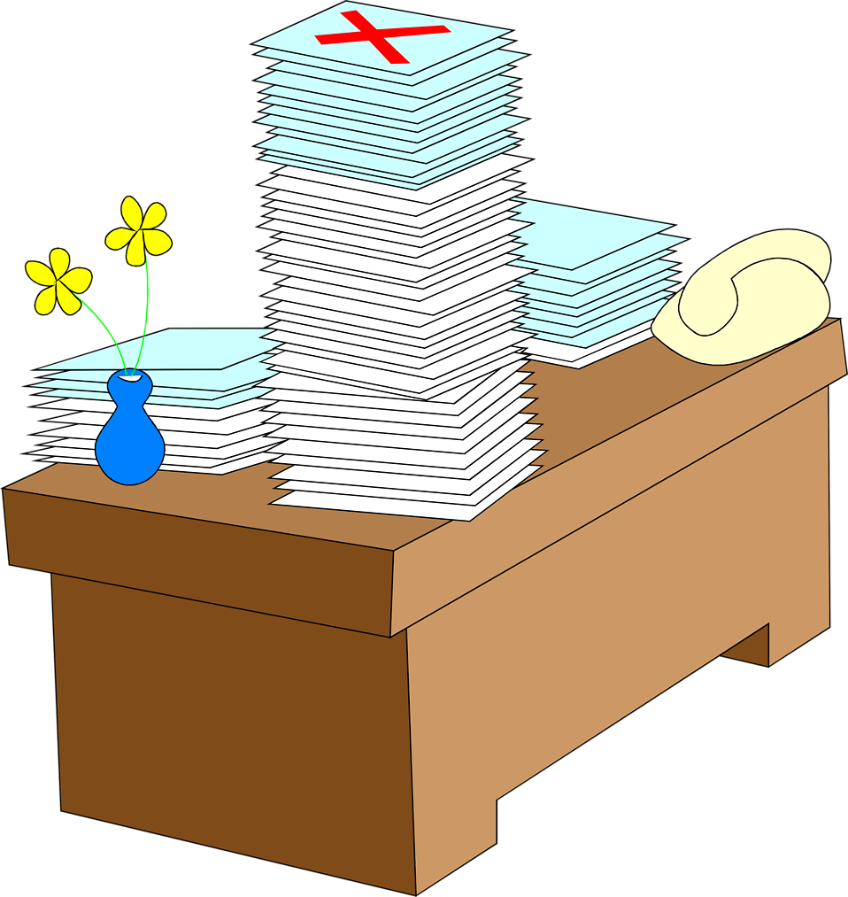 Illustration of a desk with stacks of paper : Free Stock Photo