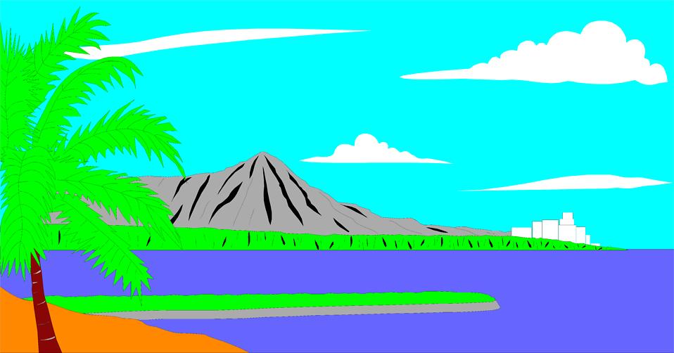 Illustration of Diamond Head volacano in Hawaii : Free Stock Photo