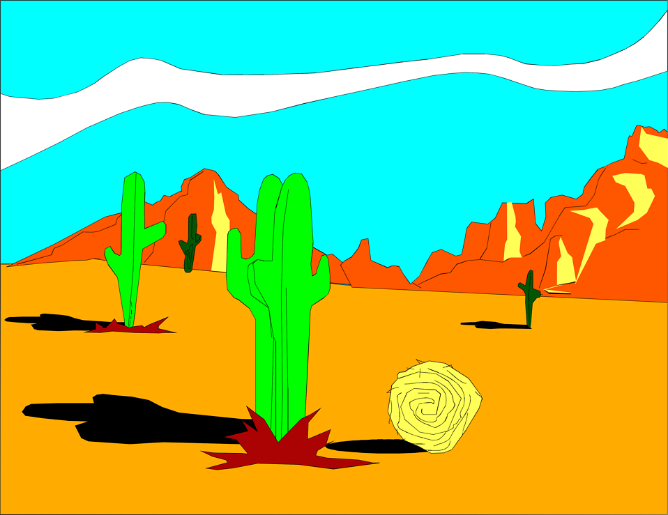Illustration of a desert landscape with cacti and a tumbleweed : Free Stock Photo