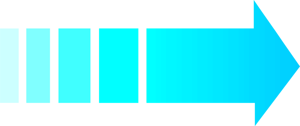 Illustration of a blue right facing arrow.