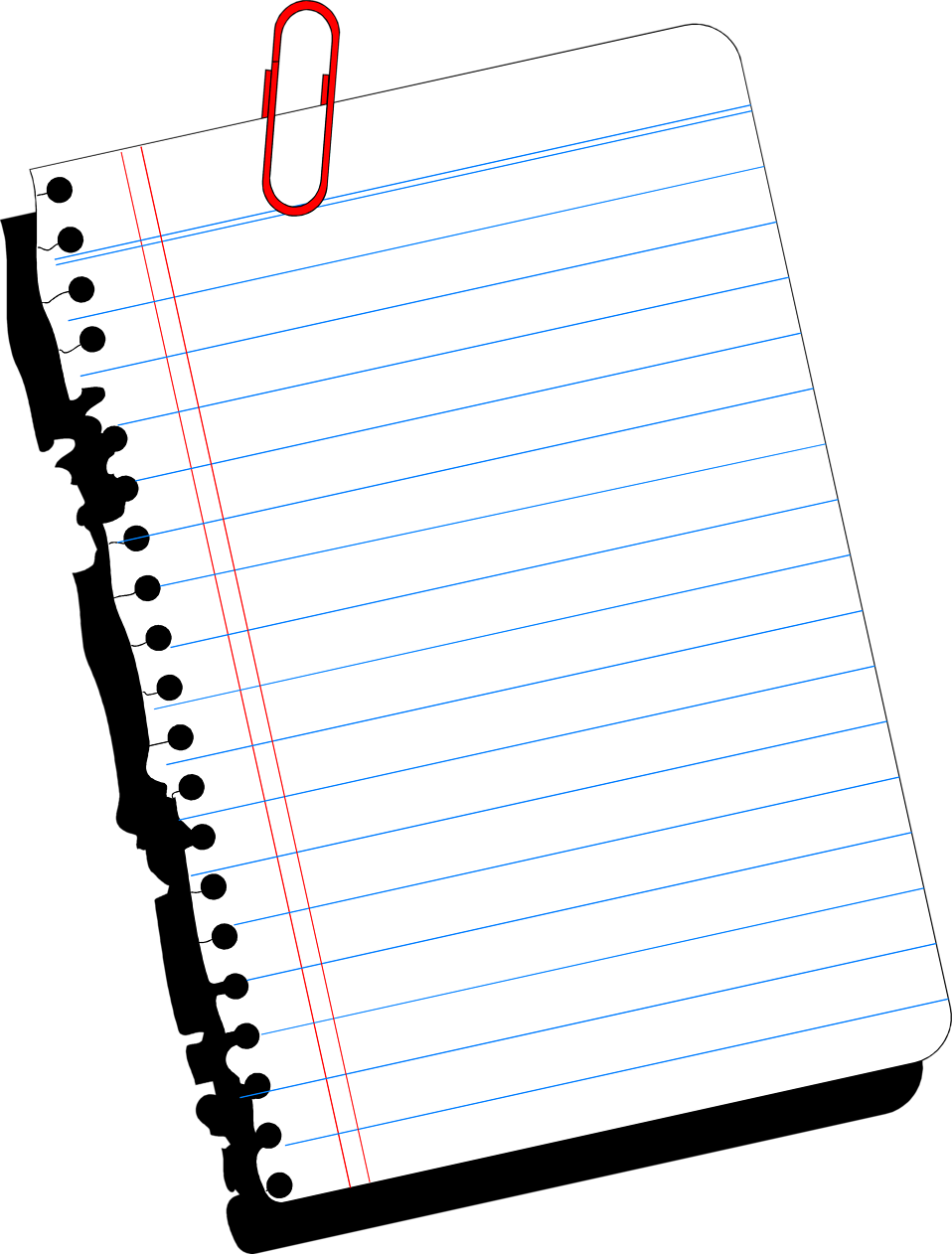 Illustration of a blank notebook paper.